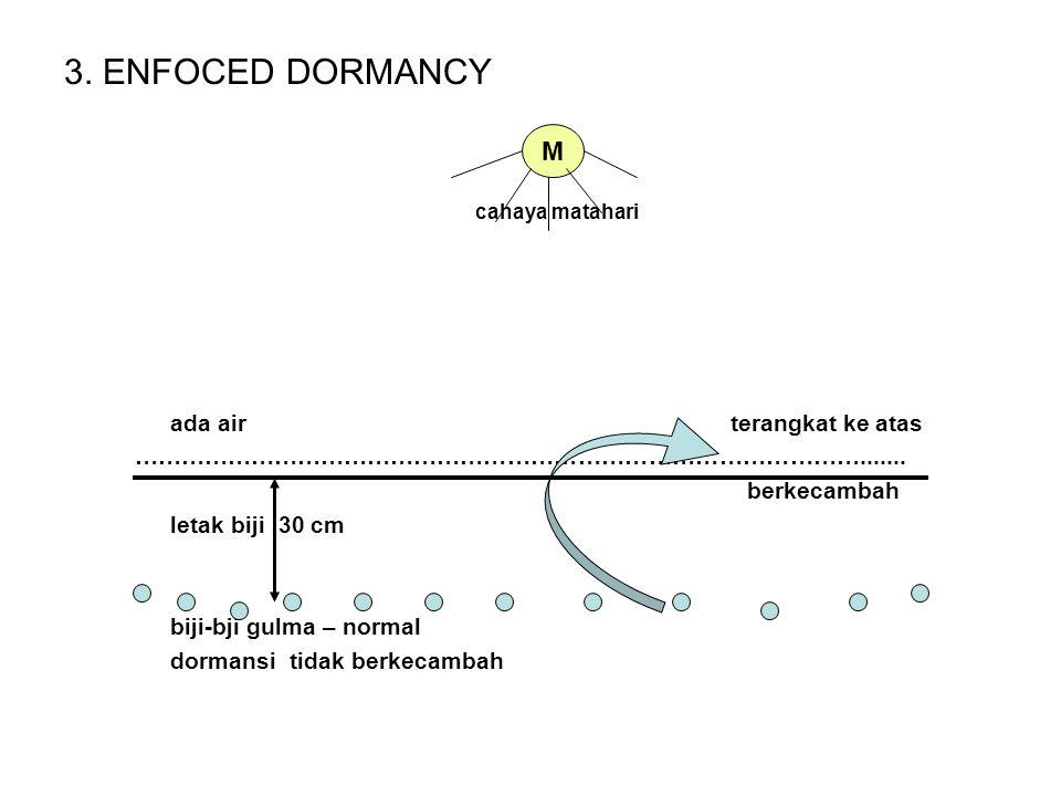 DORMANSI 1.INNATE DORMANCY (dormansi bawaan) - Kulit biji yg impermeabel – Amaranthus retroflexus - Hambatan chemis dalam biji – lettuce - Embrio yang rudimenter – Polygonum barbatum 2.INDUCED DORMANCY - (faktor untuk berkecambah tidak terpenuhi) cahaya matahari tidak ada air biji-biji gulma - normal dorman tak berkecambah M