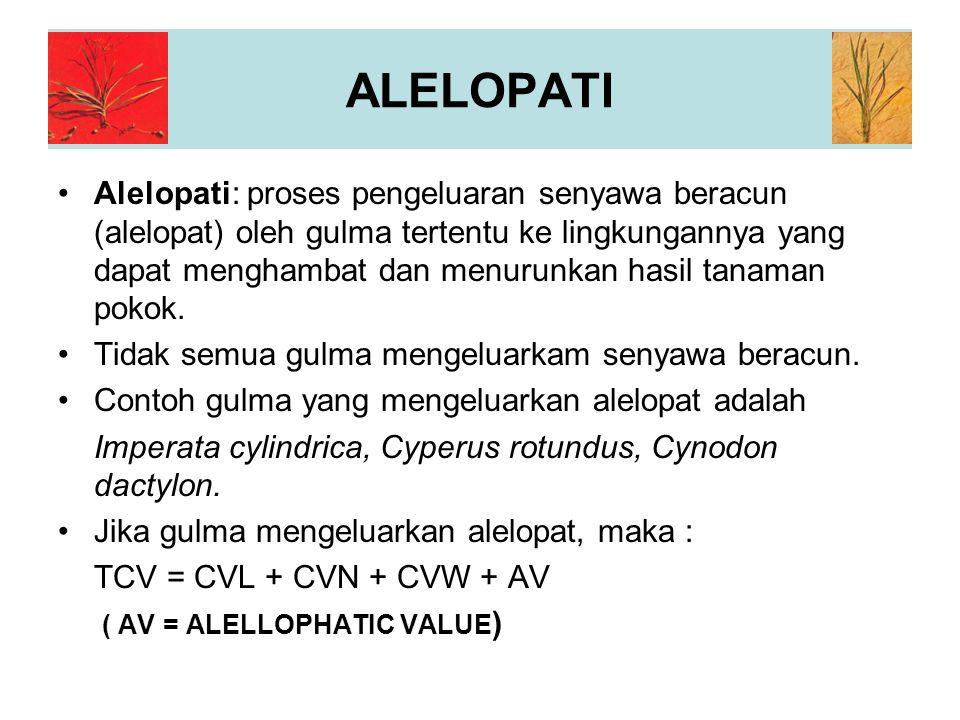 ALELOPATI Alelopati: proses pengeluaran senyawa beracun (alelopat) oleh gulma tertentu ke lingkungannya yang dapat menghambat dan menurunkan hasil tanaman pokok.