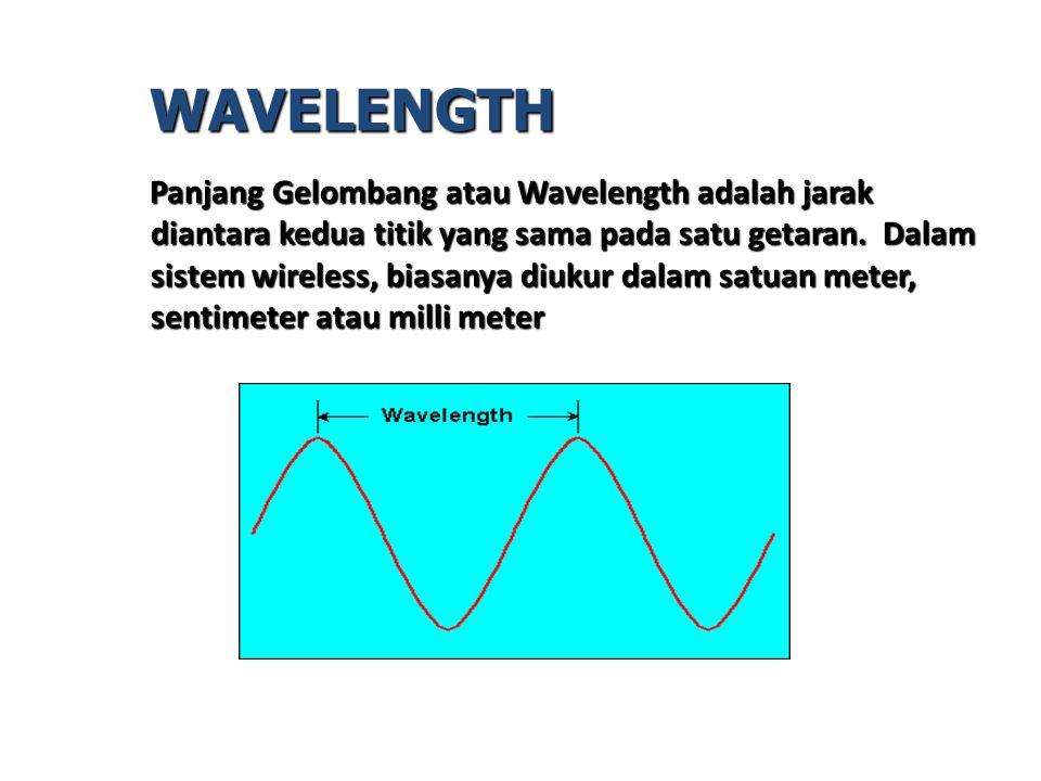 Panjang Gelombang atau Wavelength adalah jarak diantara kedua titik yang sama pada satu getaran. Dalam sistem wireless, biasanya diukur dalam satuan m