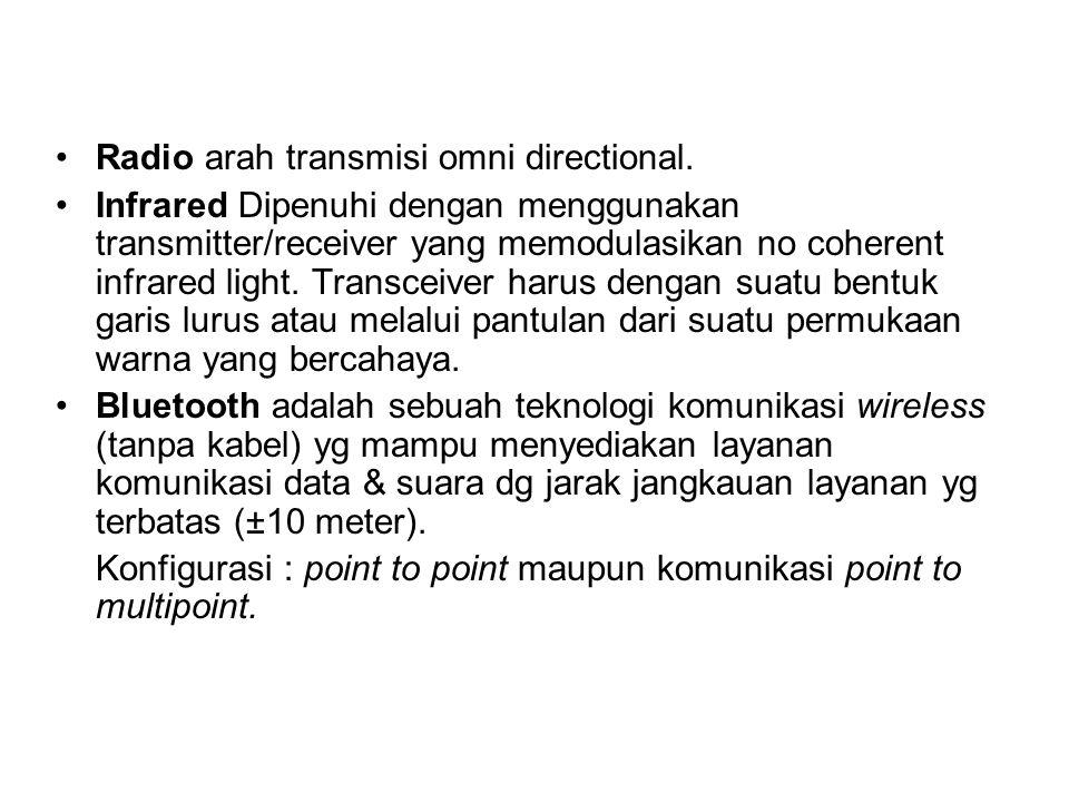 Radio arah transmisi omni directional. Infrared Dipenuhi dengan menggunakan transmitter/receiver yang memodulasikan no coherent infrared light. Transc