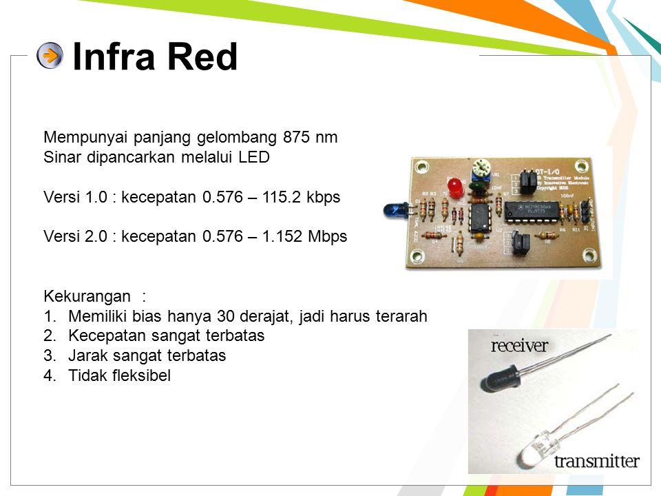 Infra Red Mempunyai panjang gelombang 875 nm Sinar dipancarkan melalui LED Versi 1.0 : kecepatan 0.576 – 115.2 kbps Versi 2.0 : kecepatan 0.576 – 1.152 Mbps Kekurangan : 1.Memiliki bias hanya 30 derajat, jadi harus terarah 2.Kecepatan sangat terbatas 3.Jarak sangat terbatas 4.Tidak fleksibel