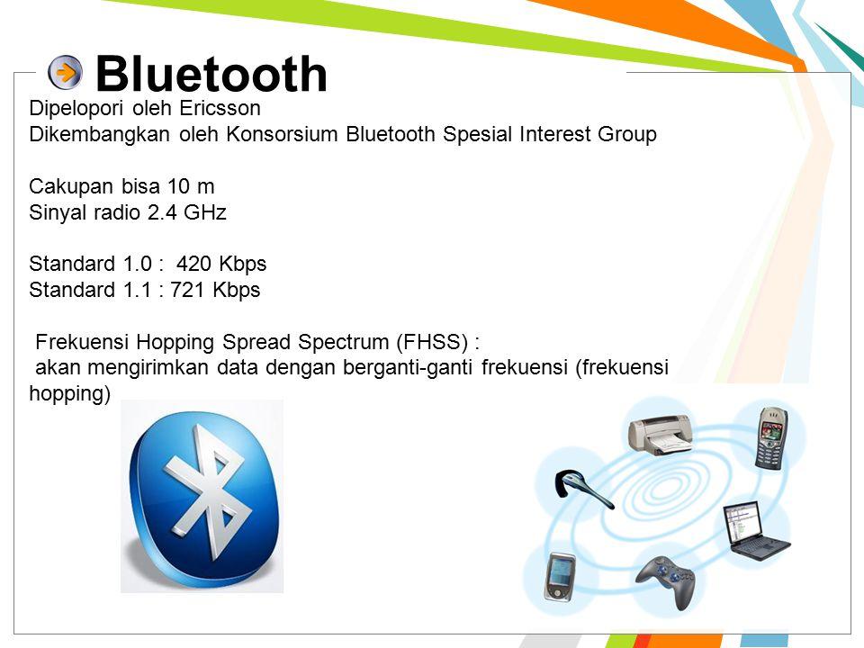 Bluetooth Dipelopori oleh Ericsson Dikembangkan oleh Konsorsium Bluetooth Spesial Interest Group Cakupan bisa 10 m Sinyal radio 2.4 GHz Standard 1.0 : 420 Kbps Standard 1.1 : 721 Kbps Frekuensi Hopping Spread Spectrum (FHSS) : akan mengirimkan data dengan berganti-ganti frekuensi (frekuensi hopping)