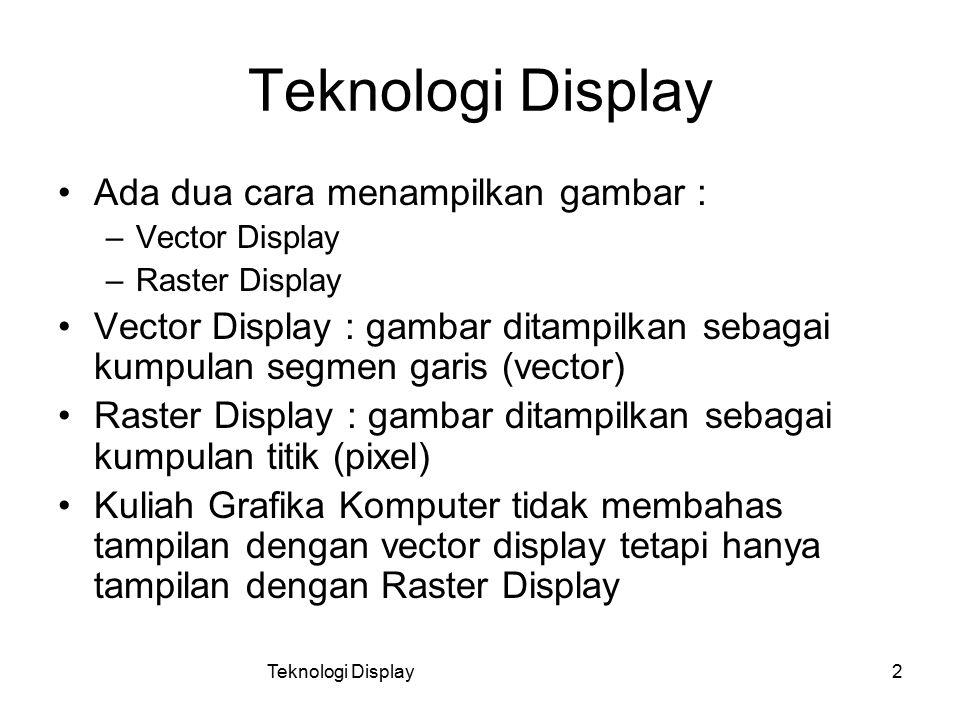Teknologi Display2 Ada dua cara menampilkan gambar : –Vector Display –Raster Display Vector Display : gambar ditampilkan sebagai kumpulan segmen garis