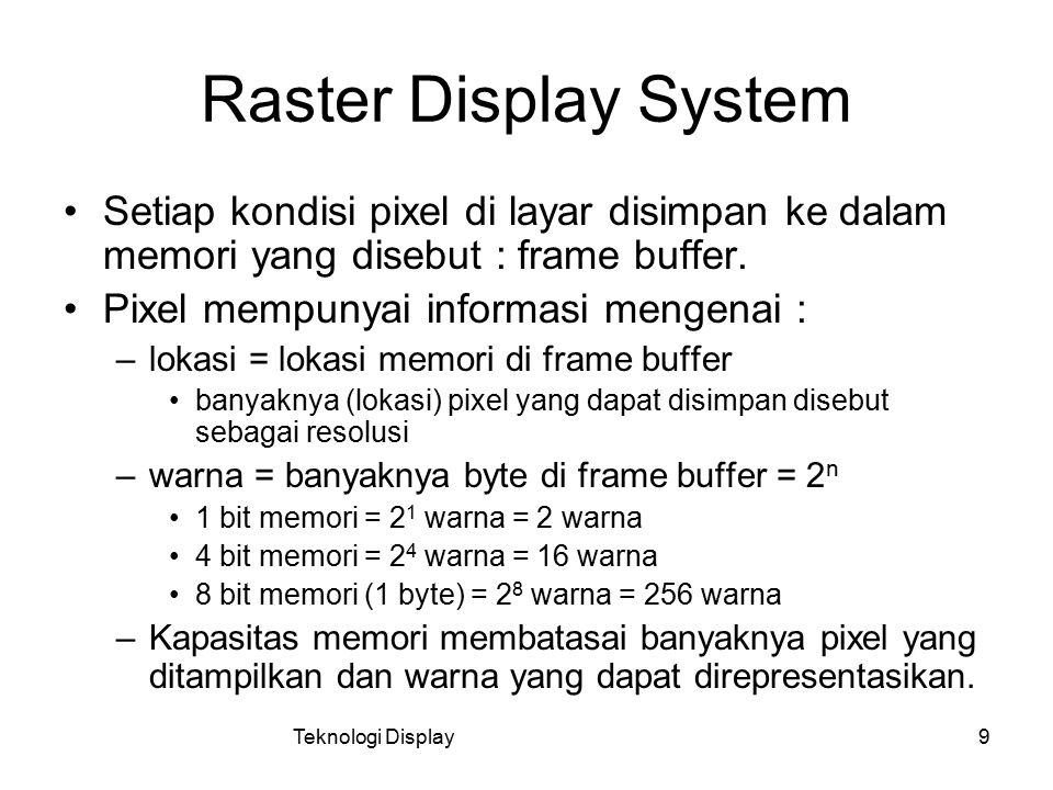 Teknologi Display9 Raster Display System Setiap kondisi pixel di layar disimpan ke dalam memori yang disebut : frame buffer. Pixel mempunyai informasi