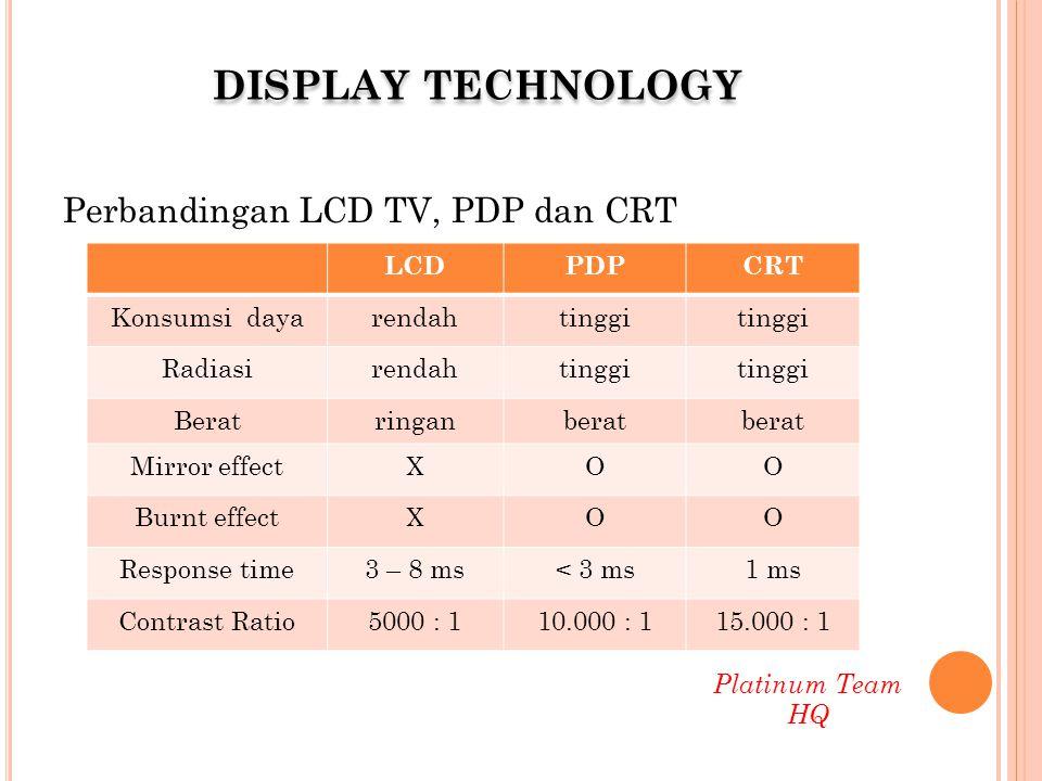 Perbandingan LCD TV, PDP dan CRT LCDPDPCRT Konsumsi dayarendahtinggi Radiasirendahtinggi Beratringanberat Mirror effectXOO Burnt effectXOO Response ti