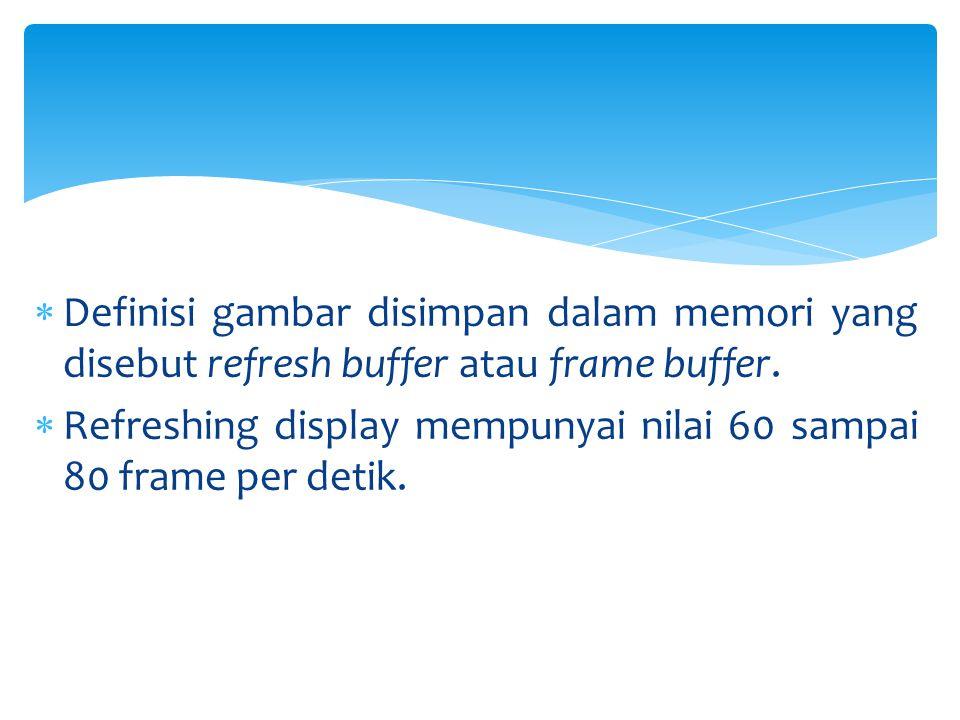  Definisi gambar disimpan dalam memori yang disebut refresh buffer atau frame buffer.  Refreshing display mempunyai nilai 60 sampai 80 frame per det