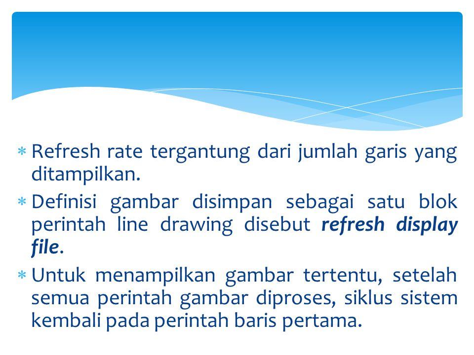  Refresh rate tergantung dari jumlah garis yang ditampilkan.  Definisi gambar disimpan sebagai satu blok perintah line drawing disebut refresh displ