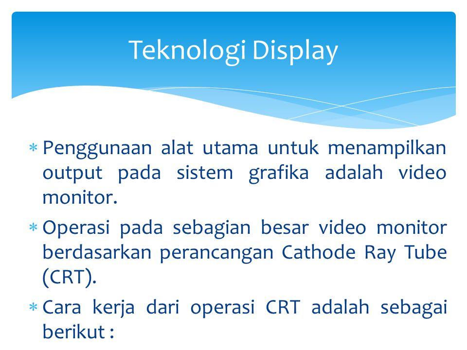 Penggunaan alat utama untuk menampilkan output pada sistem grafika adalah video monitor.  Operasi pada sebagian besar video monitor berdasarkan per