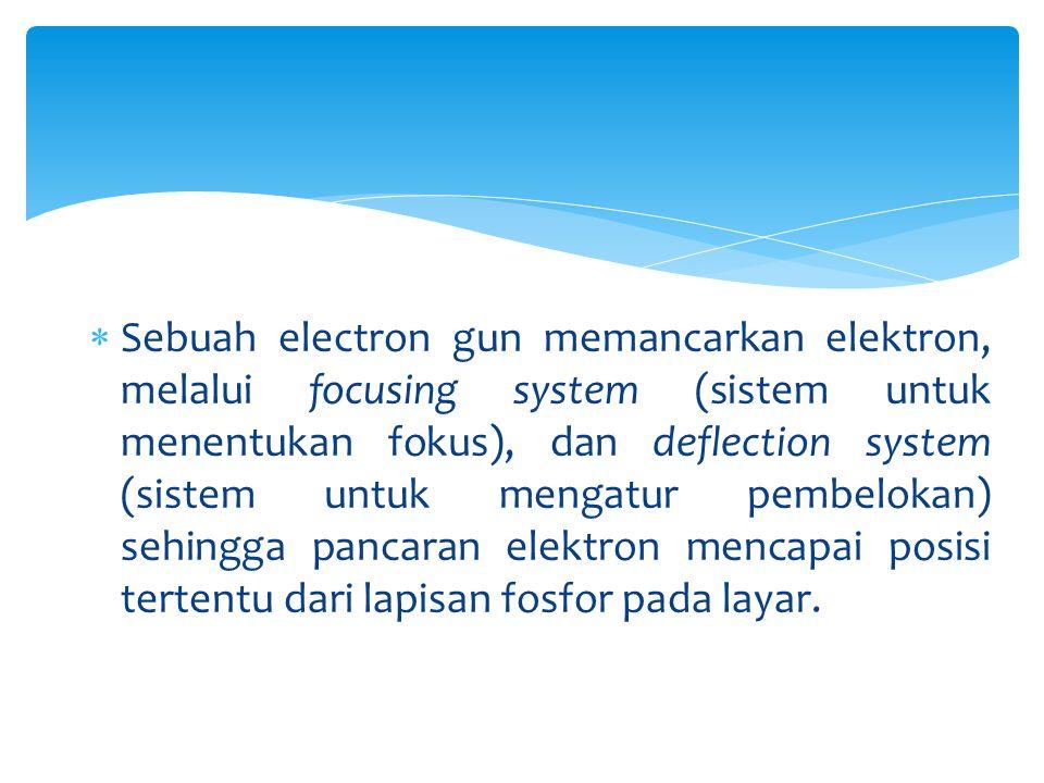  Sebuah electron gun memancarkan elektron, melalui focusing system (sistem untuk menentukan fokus), dan deflection system (sistem untuk mengatur pemb