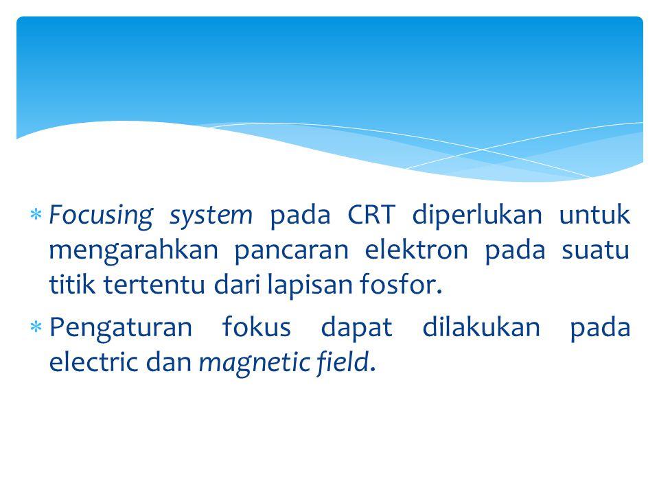  Focusing system pada CRT diperlukan untuk mengarahkan pancaran elektron pada suatu titik tertentu dari lapisan fosfor.  Pengaturan fokus dapat dila