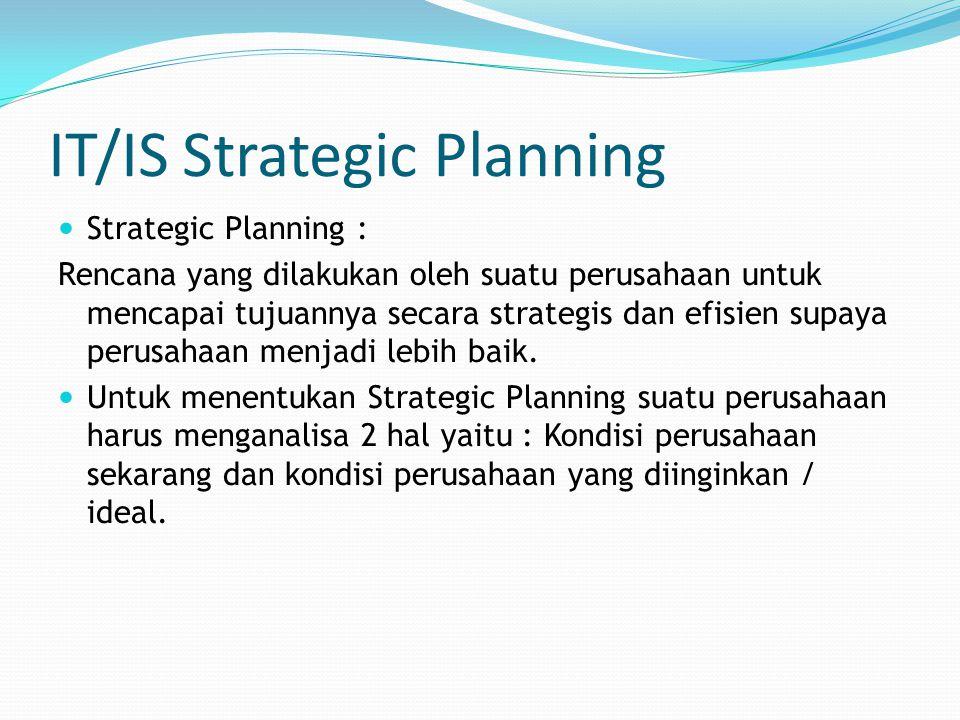IT/IS Strategic Planning Strategic Planning : Rencana yang dilakukan oleh suatu perusahaan untuk mencapai tujuannya secara strategis dan efisien supay