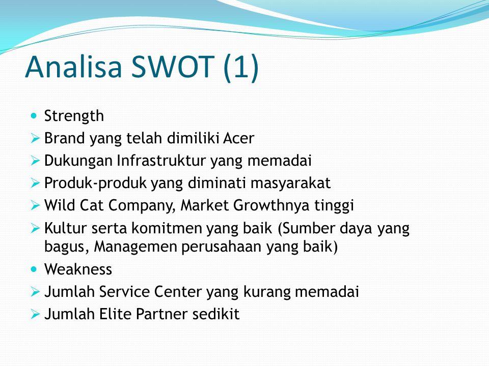 Analisa SWOT (1) Strength  Brand yang telah dimiliki Acer  Dukungan Infrastruktur yang memadai  Produk-produk yang diminati masyarakat  Wild Cat C