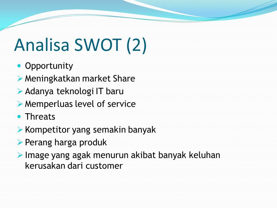 Analisa SWOT (2) Opportunity  Meningkatkan market Share  Adanya teknologi IT baru  Memperluas level of service Threats  Kompetitor yang semakin ba
