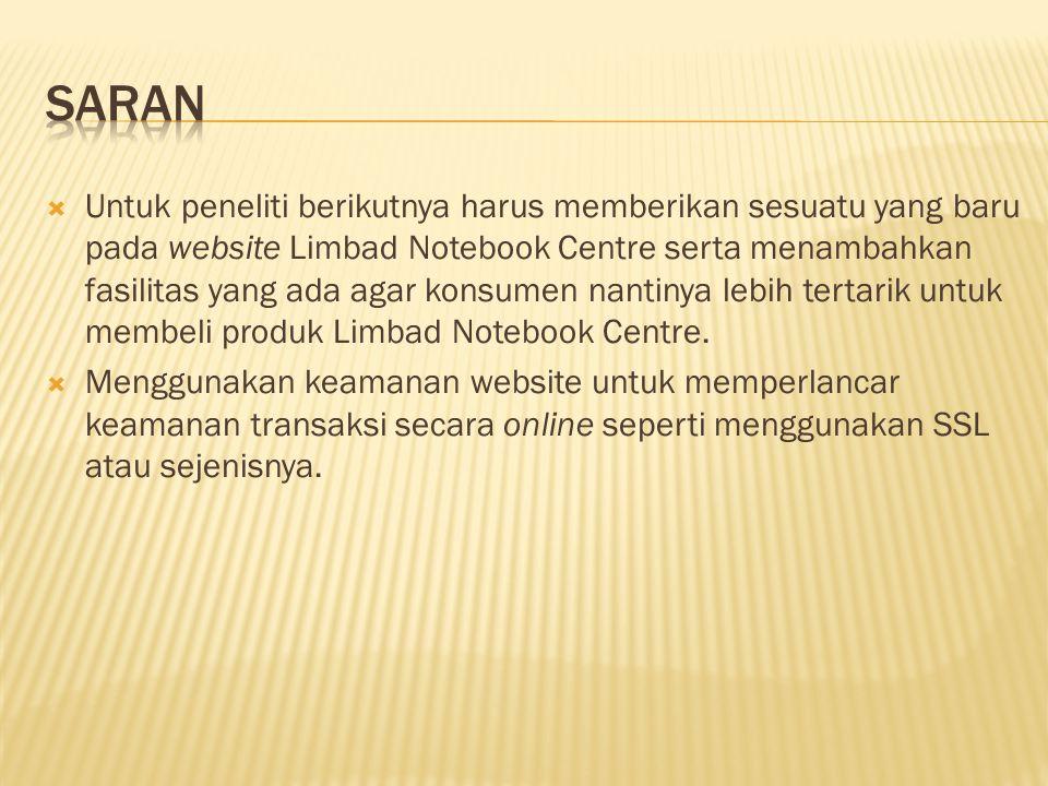  Untuk peneliti berikutnya harus memberikan sesuatu yang baru pada website Limbad Notebook Centre serta menambahkan fasilitas yang ada agar konsumen nantinya lebih tertarik untuk membeli produk Limbad Notebook Centre.