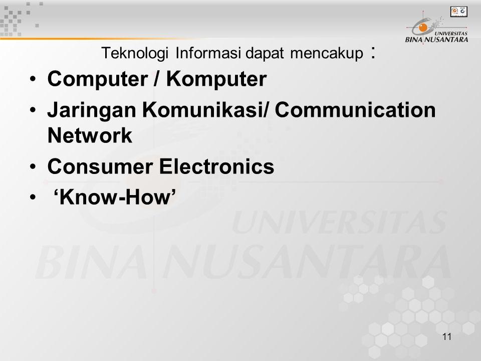 11 Teknologi Informasi dapat mencakup : Computer / Komputer Jaringan Komunikasi/ Communication Network Consumer Electronics 'Know-How'