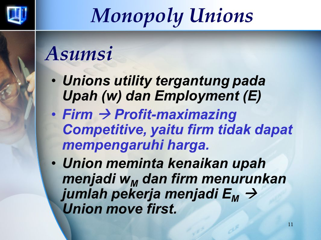 10 Labor Union ANGGOTA SERIKAT PEKERJA TAHUN 1996 (%) Gender Men Women Industry Agricultutal Private Non Agricultural Mining Construction Manufacturin