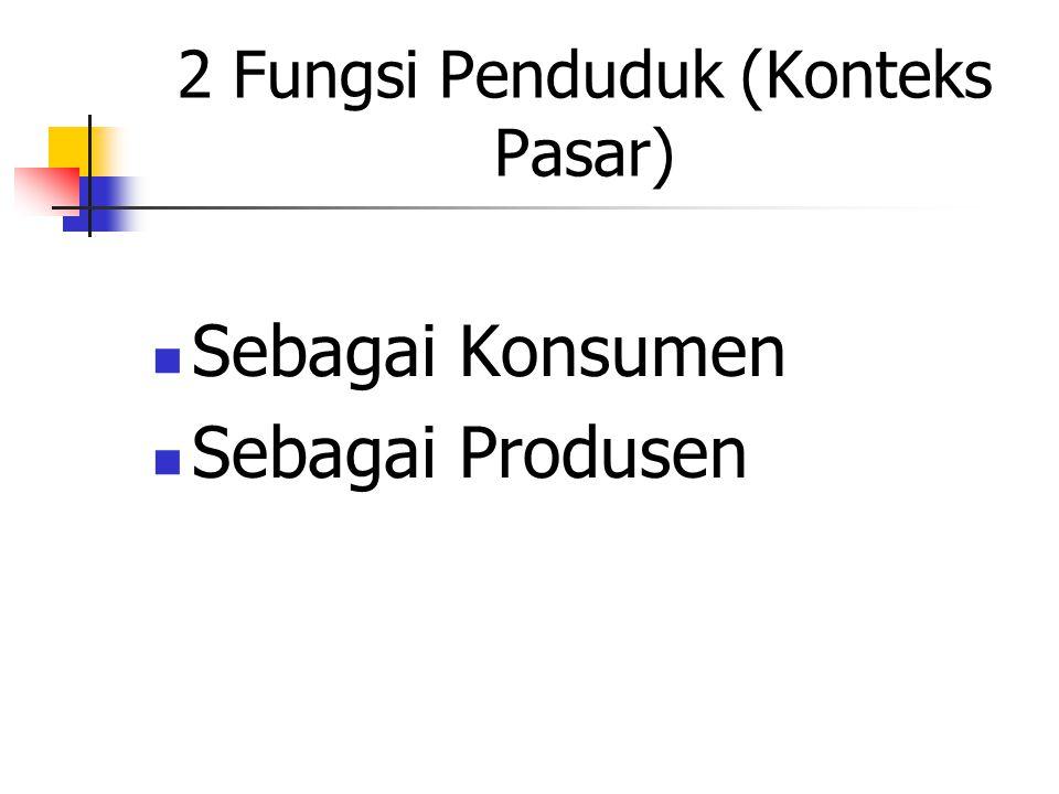 2 Fungsi Penduduk (Konteks Objek dan Subjek) Objek Pembangunan Subjek Pembangunan