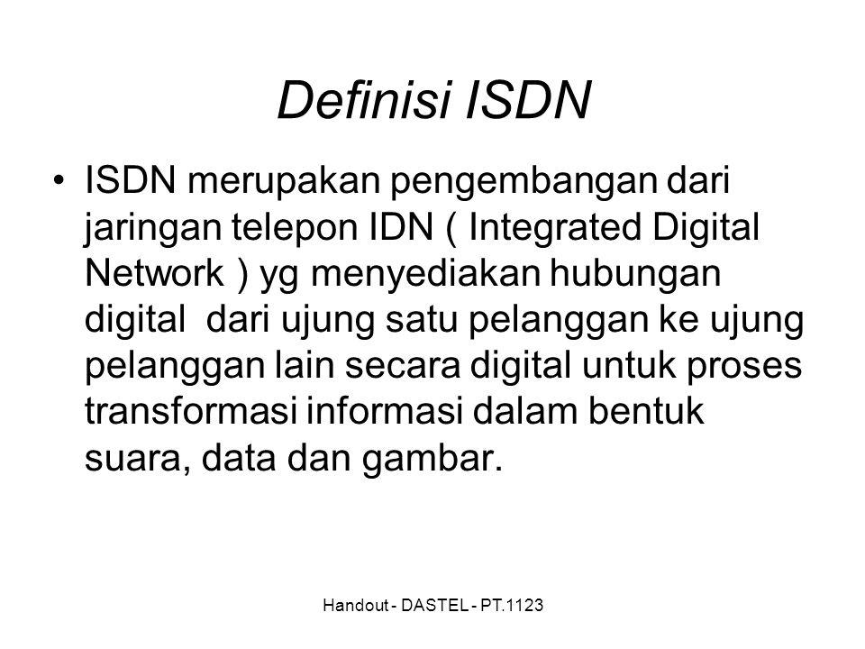Handout - DASTEL - PT.1123 Definisi ISDN ISDN merupakan pengembangan dari jaringan telepon IDN ( Integrated Digital Network ) yg menyediakan hubungan