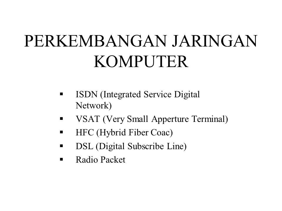 PERKEMBANGAN JARINGAN KOMPUTER  ISDN (Integrated Service Digital Network)  VSAT (Very Small Apperture Terminal)  HFC (Hybrid Fiber Coac)  DSL (Dig
