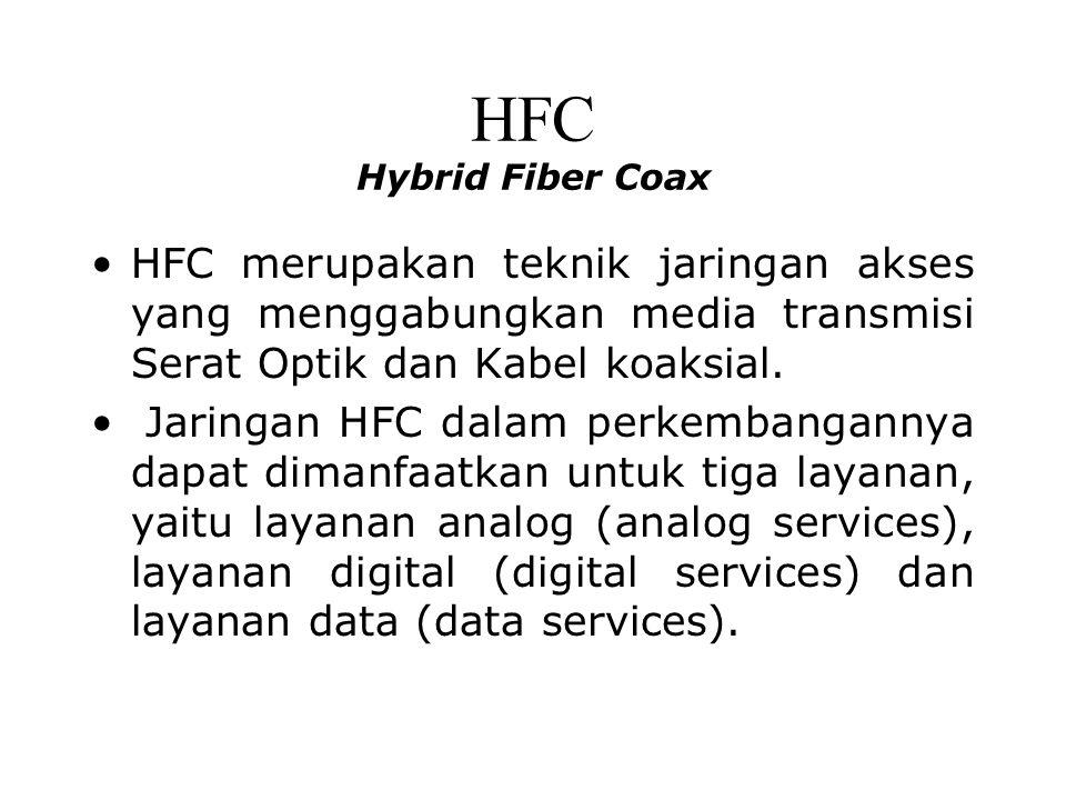 HFC Hybrid Fiber Coax HFC merupakan teknik jaringan akses yang menggabungkan media transmisi Serat Optik dan Kabel koaksial. Jaringan HFC dalam perkem