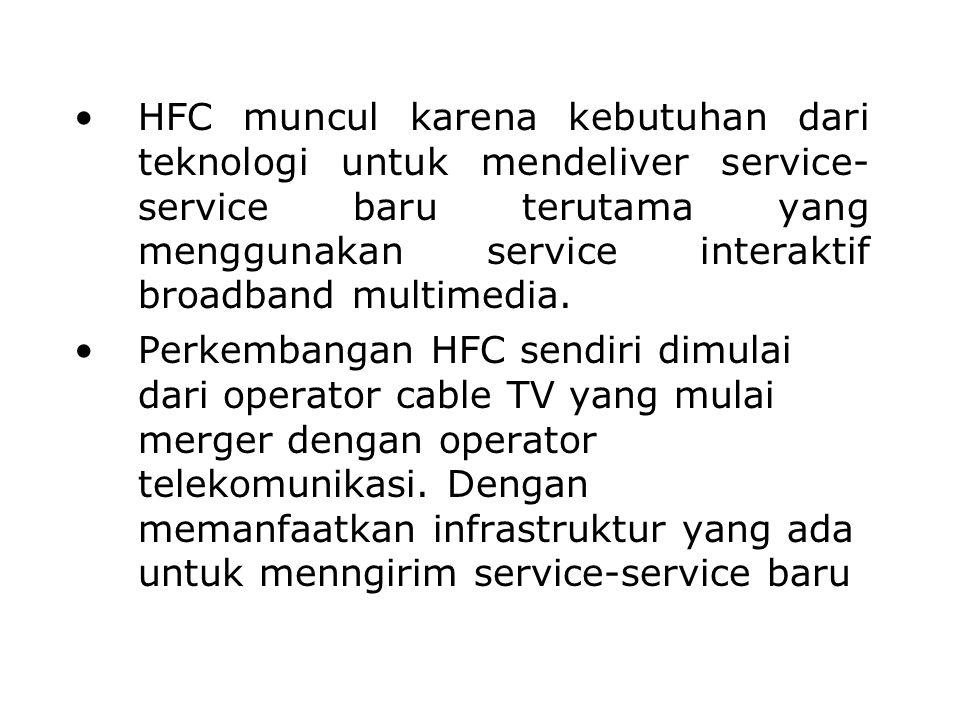 HFC muncul karena kebutuhan dari teknologi untuk mendeliver service- service baru terutama yang menggunakan service interaktif broadband multimedia. P