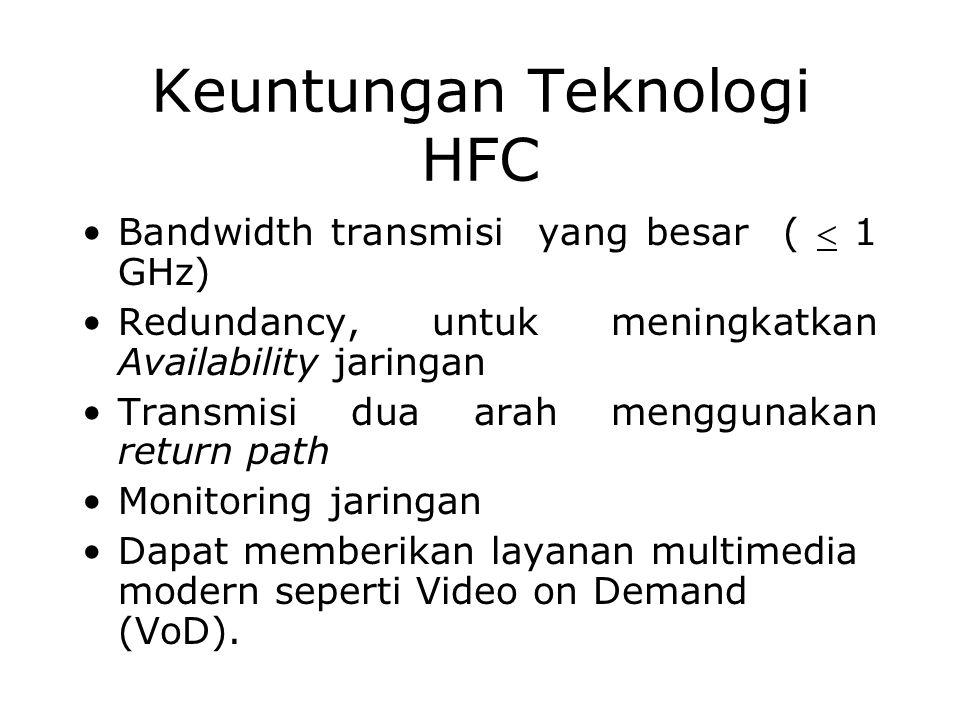 Keuntungan Teknologi HFC Bandwidth transmisi yang besar (  1 GHz) Redundancy, untuk meningkatkan Availability jaringan Transmisi dua arah menggunakan