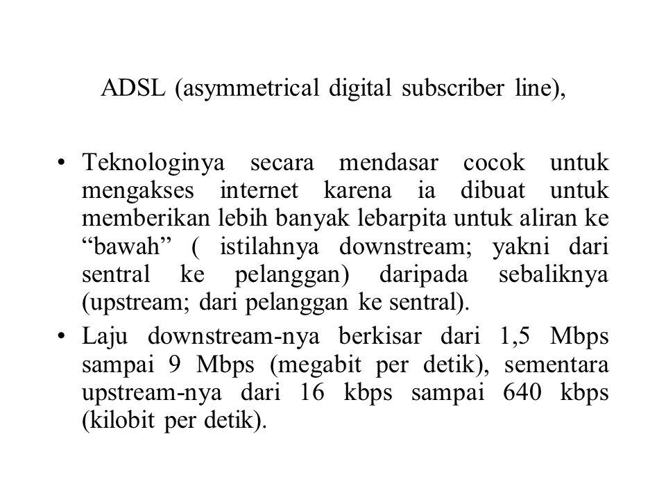 ADSL (asymmetrical digital subscriber line), Teknologinya secara mendasar cocok untuk mengakses internet karena ia dibuat untuk memberikan lebih banya