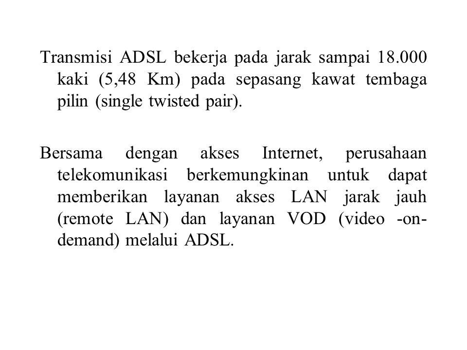 Transmisi ADSL bekerja pada jarak sampai 18.000 kaki (5,48 Km) pada sepasang kawat tembaga pilin (single twisted pair). Bersama dengan akses Internet,