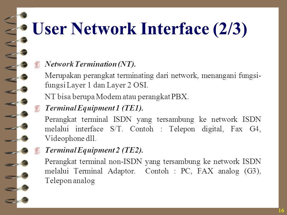 16  Network Termination (NT). Merupakan perangkat terminating dari network, menangani fungsi- fungsi Layer 1 dan Layer 2 OSI. NT bisa berupa Modem at