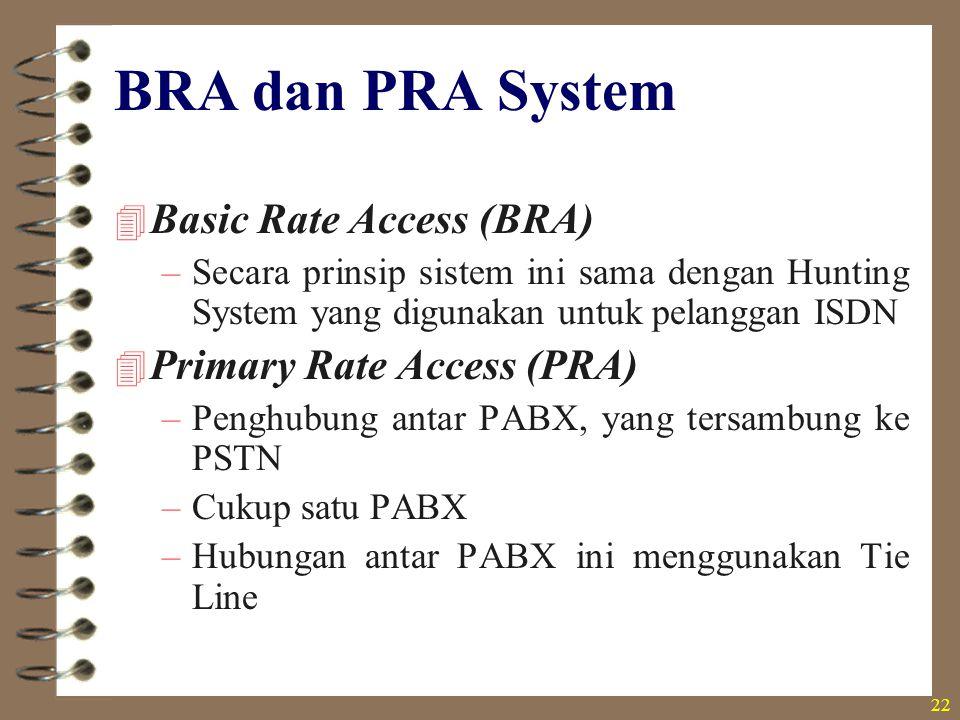 22 BRA dan PRA System  Basic Rate Access (BRA) –Secara prinsip sistem ini sama dengan Hunting System yang digunakan untuk pelanggan ISDN  Primary Ra