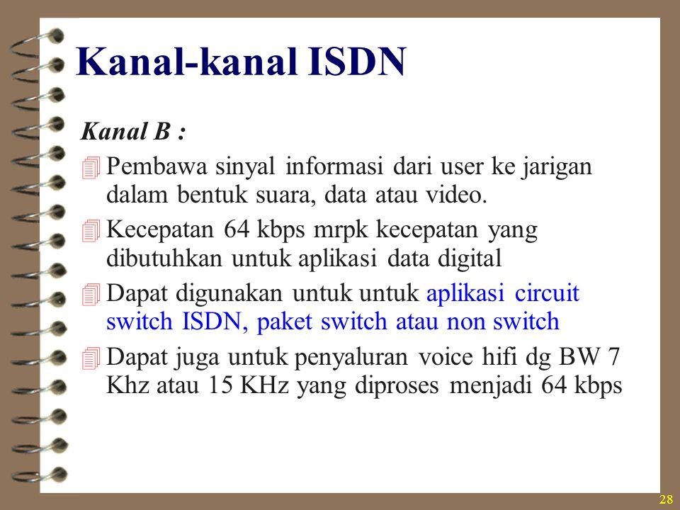 28 Kanal-kanal ISDN Kanal B :  Pembawa sinyal informasi dari user ke jarigan dalam bentuk suara, data atau video.  Kecepatan 64 kbps mrpk kecepatan