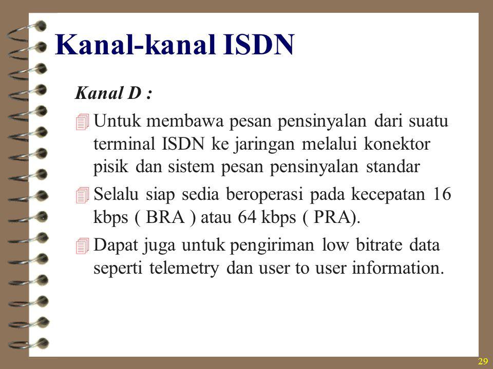 29 Kanal-kanal ISDN Kanal D :  Untuk membawa pesan pensinyalan dari suatu terminal ISDN ke jaringan melalui konektor pisik dan sistem pesan pensinyal