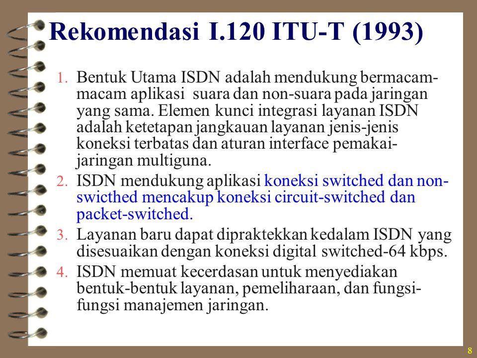 8 Rekomendasi I.120 ITU-T (1993) 1. Bentuk Utama ISDN adalah mendukung bermacam- macam aplikasi suara dan non-suara pada jaringan yang sama. Elemen ku