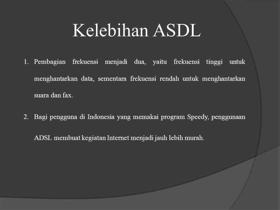 Kelebihan ASDL 2.Bagi pengguna di Indonesia yang memakai program Speedy, penggunaan ADSL membuat kegiatan Internet menjadi jauh lebih murah. 1.Pembagi