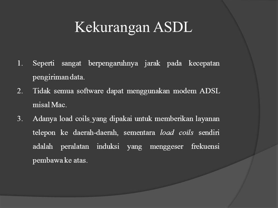 Kekurangan ASDL 1.Seperti sangat berpengaruhnya jarak pada kecepatan pengiriman data. 2.Tidak semua software dapat menggunakan modem ADSL misal Mac. 3