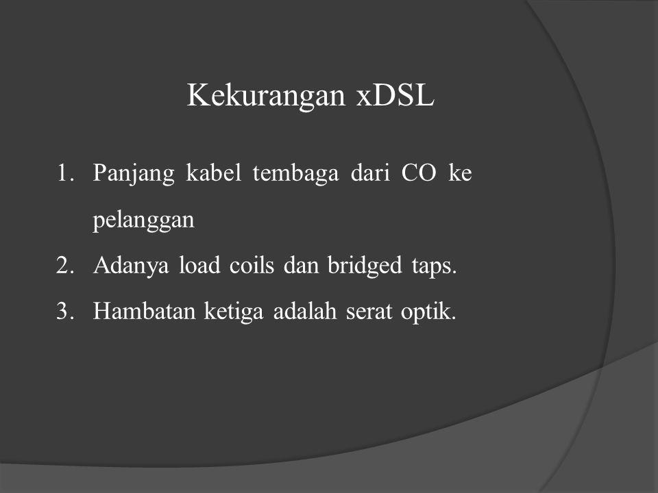 Kekurangan xDSL 1.Panjang kabel tembaga dari CO ke pelanggan 2.Adanya load coils dan bridged taps. 3.Hambatan ketiga adalah serat optik.