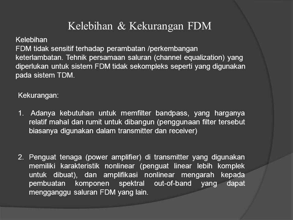 Kelebihan & Kekurangan FDM Kekurangan: 1. Adanya kebutuhan untuk memfilter bandpass, yang harganya relatif mahal dan rumit untuk dibangun (penggunaan
