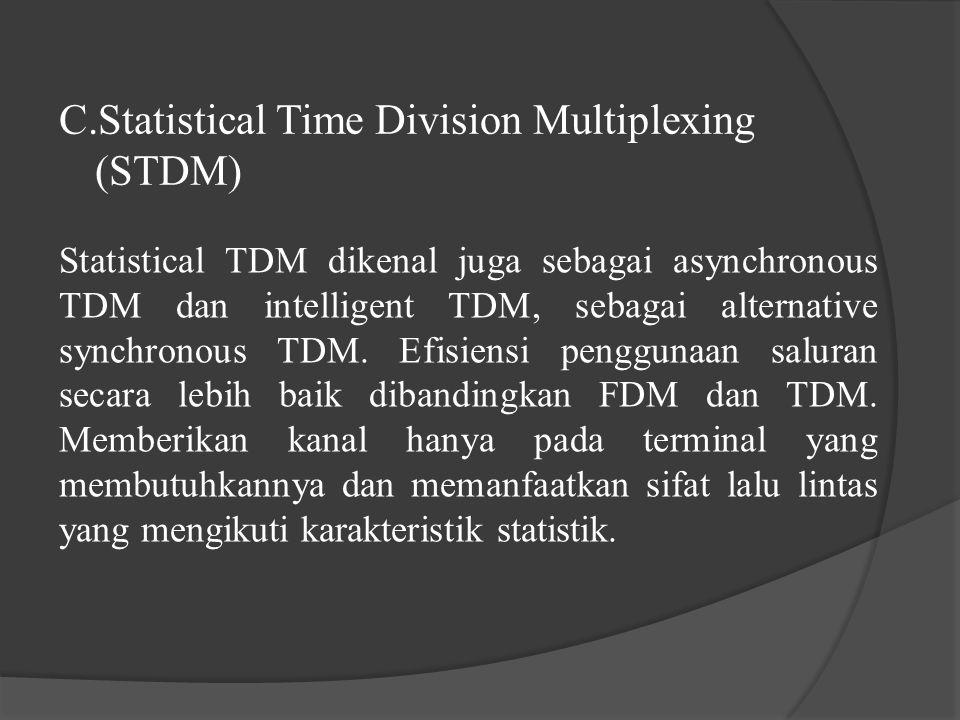 C.Statistical Time Division Multiplexing (STDM) Statistical TDM dikenal juga sebagai asynchronous TDM dan intelligent TDM, sebagai alternative synchro