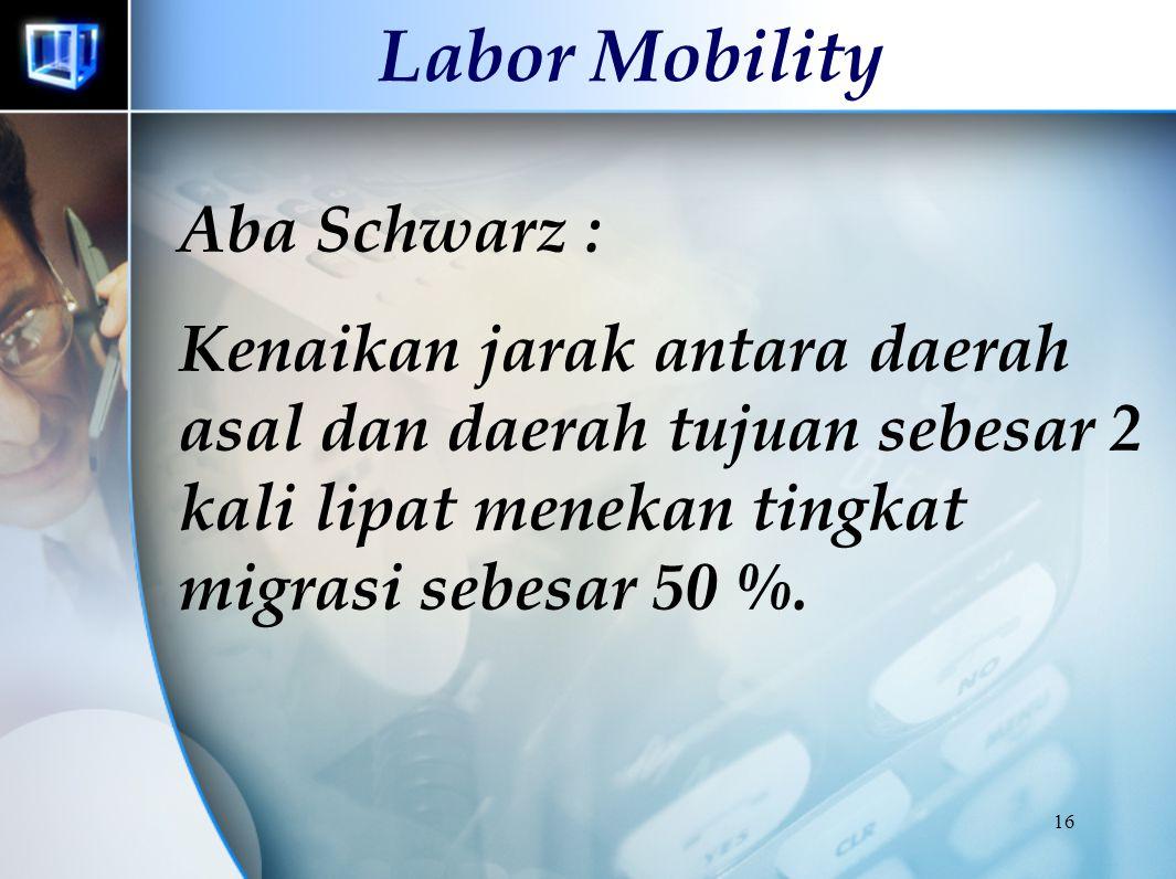 15 Labor Mobility Robert A. Naskoteen & Michael Zimmer : Kenaikan 10 % dalam perbedaan upah daerah asal dan tujuan meningkatkan kemungknan bermigrasi