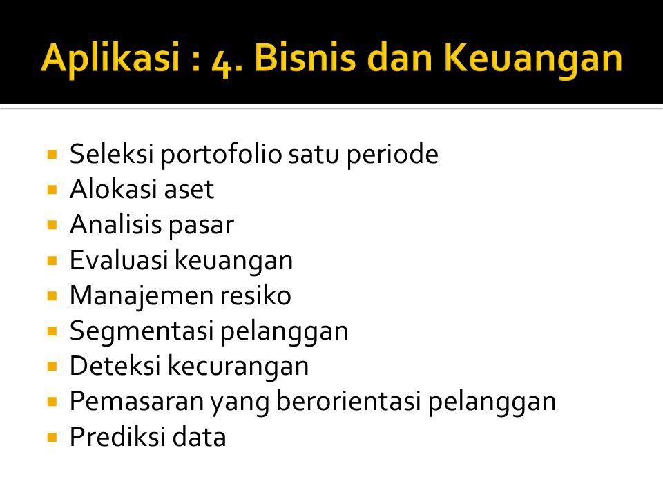  Seleksi portofolio satu periode  Alokasi aset  Analisis pasar  Evaluasi keuangan  Manajemen resiko  Segmentasi pelanggan  Deteksi kecurangan 