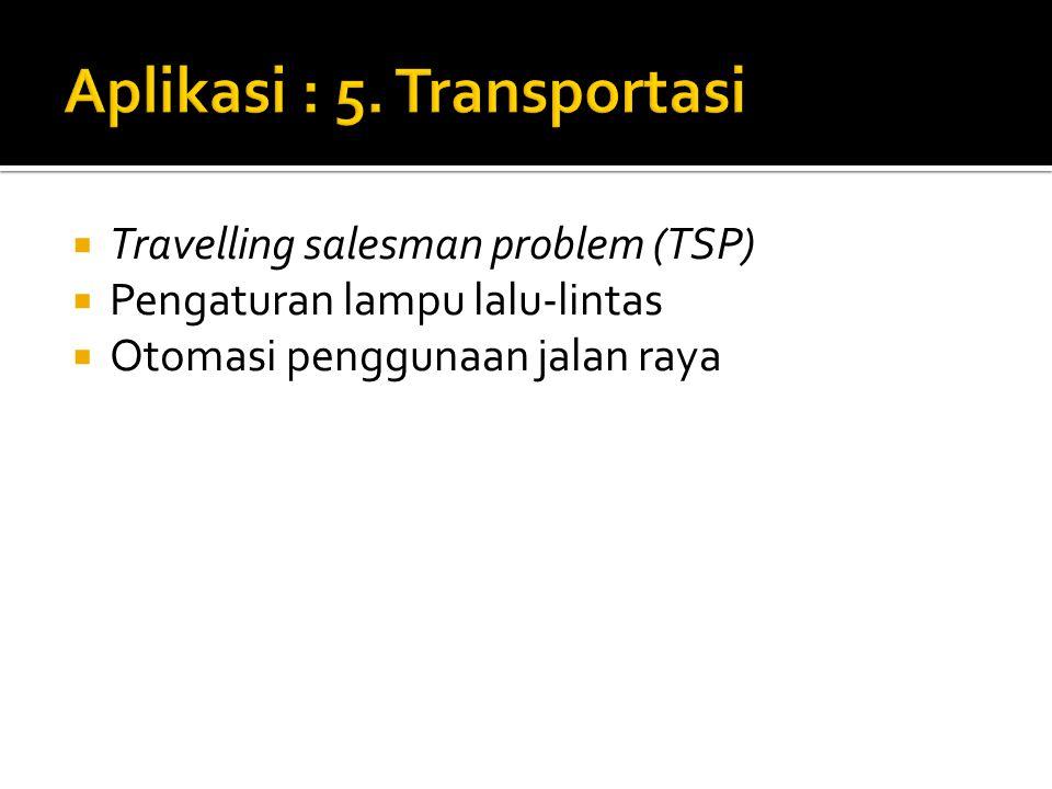  Travelling salesman problem (TSP)  Pengaturan lampu lalu-lintas  Otomasi penggunaan jalan raya