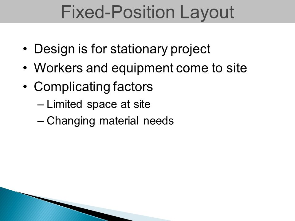 Fixed-Position Layout Design is for stationary project Workers and equipment come to site Complicating factors –Limited space at site –Changing materi
