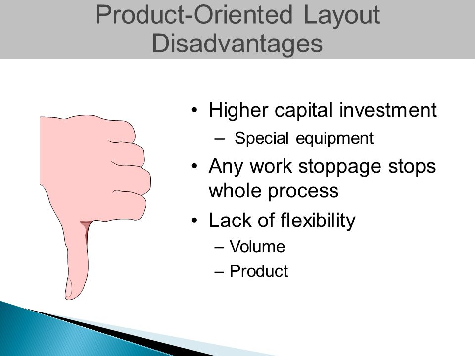 Product-Oriented Layout Disadvantages Higher capital investment – Special equipment Any work stoppage stops whole process Lack of flexibility –Volume