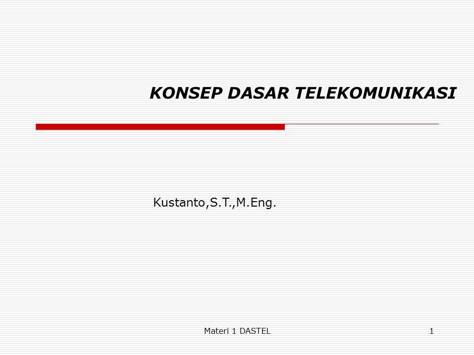 Materi 1 DASTEL KONSEP DASAR TELEKOMUNIKASI Kustanto,S.T.,M.Eng. 1