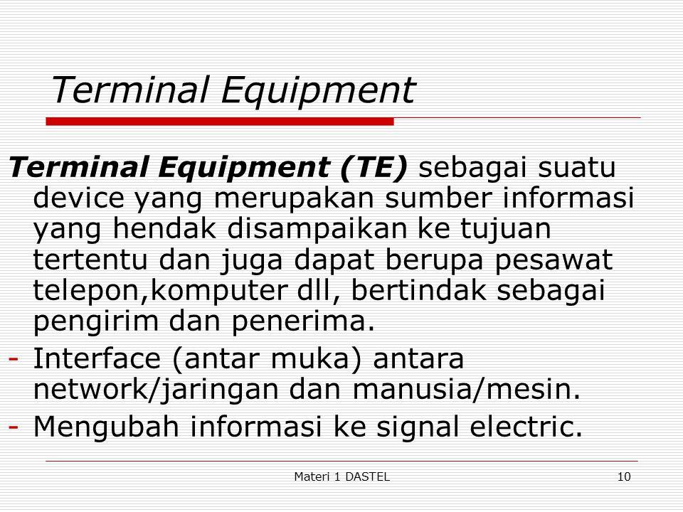 Terminal Equipment Terminal Equipment (TE) sebagai suatu device yang merupakan sumber informasi yang hendak disampaikan ke tujuan tertentu dan juga da