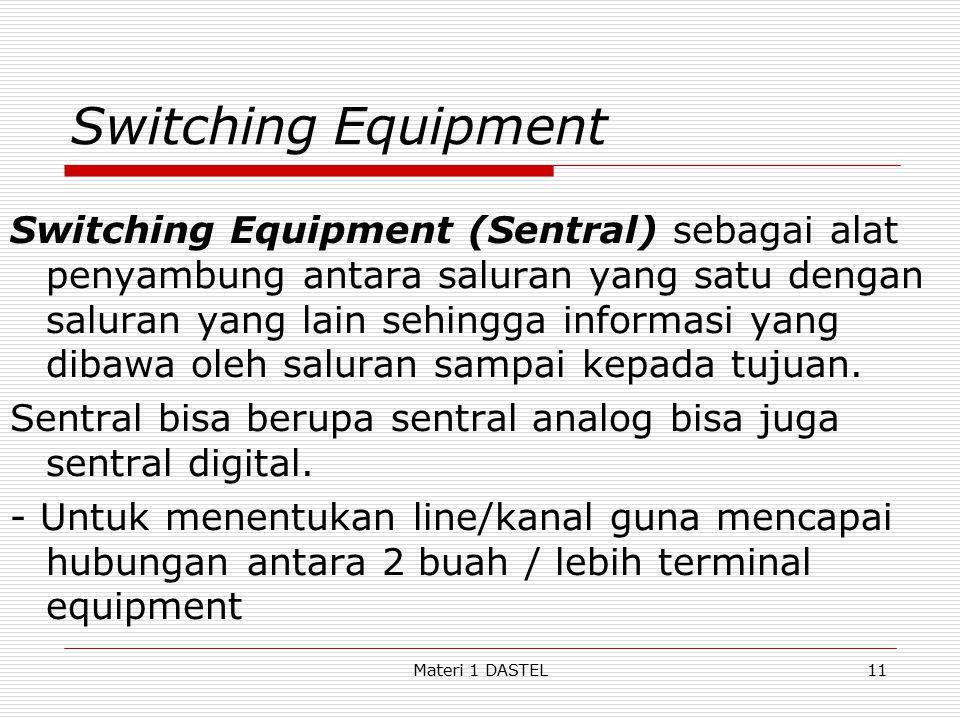 Materi 1 DASTEL Switching Equipment Switching Equipment (Sentral) sebagai alat penyambung antara saluran yang satu dengan saluran yang lain sehingga i