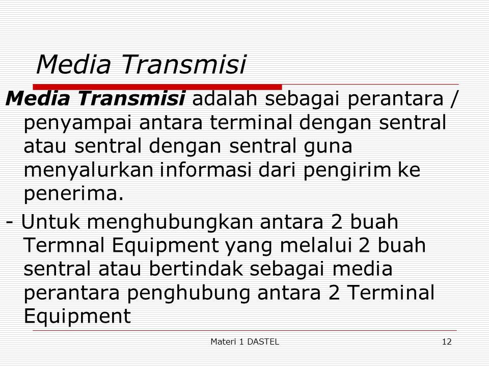 Materi 1 DASTEL Media Transmisi Media Transmisi adalah sebagai perantara / penyampai antara terminal dengan sentral atau sentral dengan sentral guna m