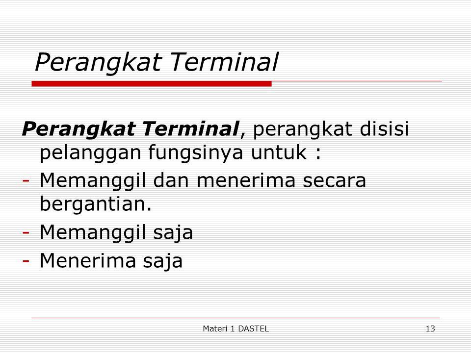 Materi 1 DASTEL Perangkat Terminal Perangkat Terminal, perangkat disisi pelanggan fungsinya untuk : -Memanggil dan menerima secara bergantian. -Memang