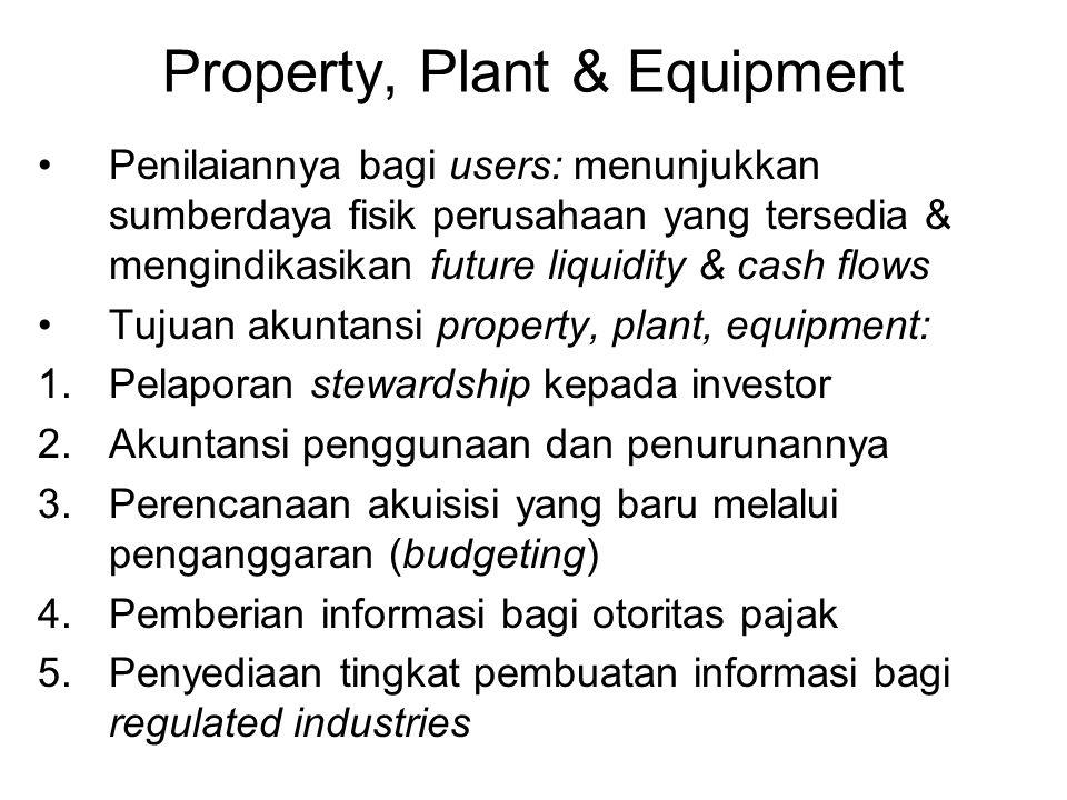 Property, Plant & Equipment Penilaiannya bagi users: menunjukkan sumberdaya fisik perusahaan yang tersedia & mengindikasikan future liquidity & cash f