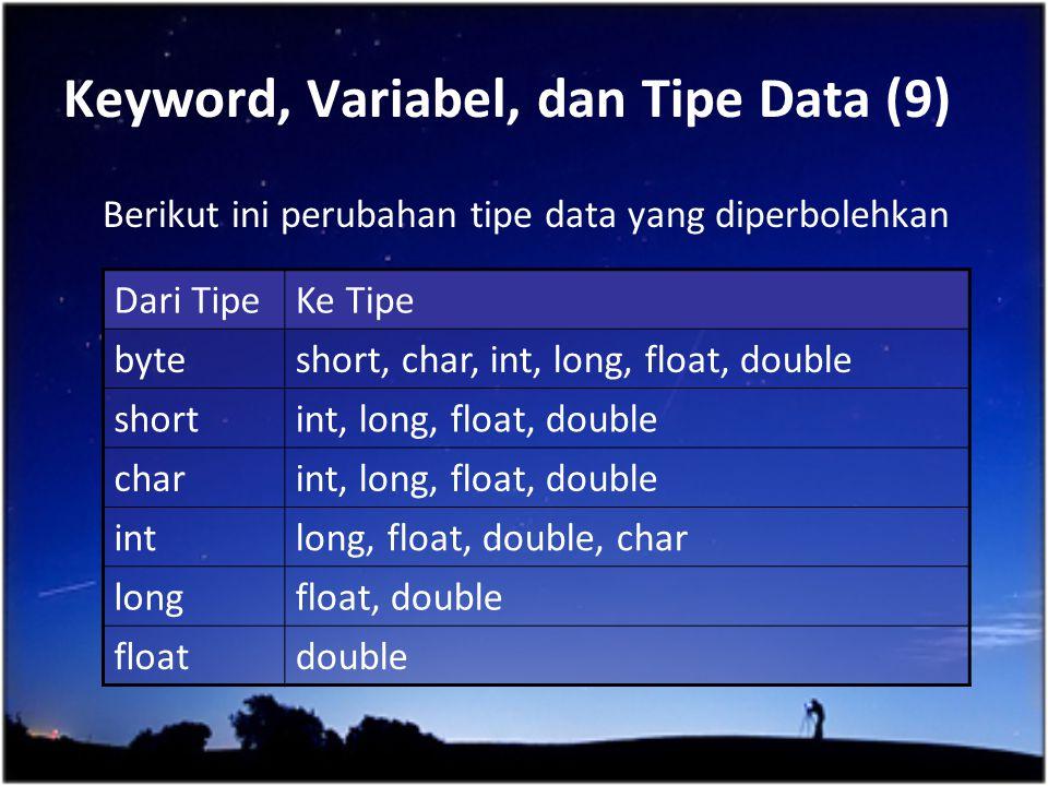 Keyword, Variabel, dan Tipe Data (9) Berikut ini perubahan tipe data yang diperbolehkan Dari TipeKe Tipe byteshort, char, int, long, float, double sho